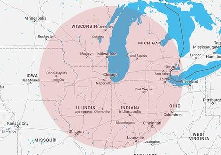 300 mile radius of chicago