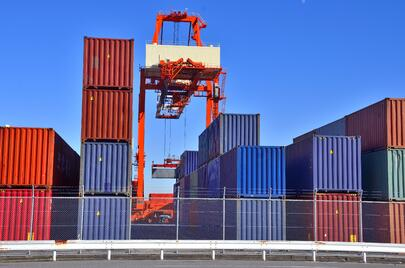 Intermodal Containers in Yard