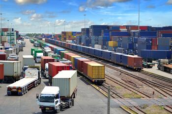 intermodal trucks and trains