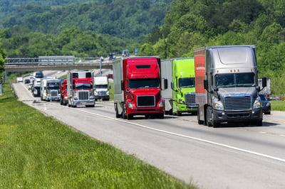 many trucks